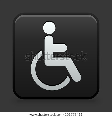 Disabled Icon on Black and White Button  - stock vector