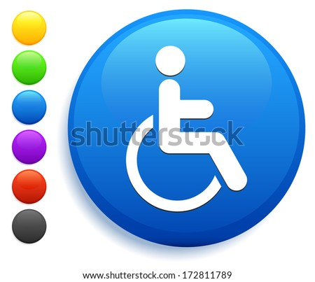 Disabled Icon on Round Button Collection - stock vector
