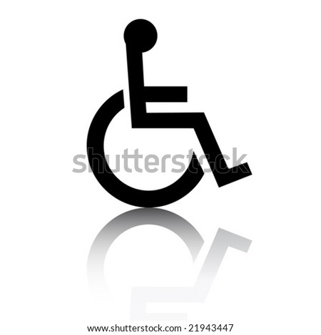 Disabled icon with glossy effect - stock vector