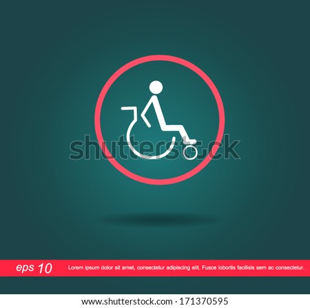 disabled in red circle vector icon