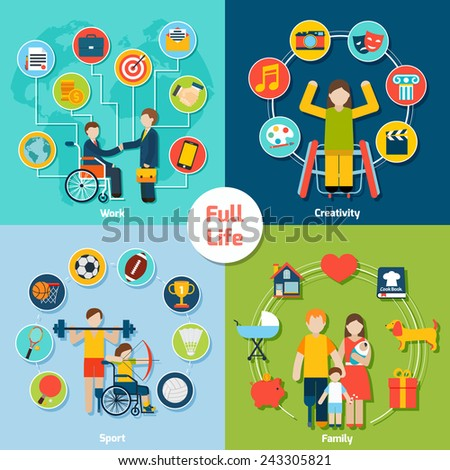Disabled life design concept set with work creativity sport family flat icons isolated vector illustration - stock vector