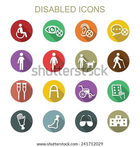 disabled long shadow icons, flat vector symbols - stock vector