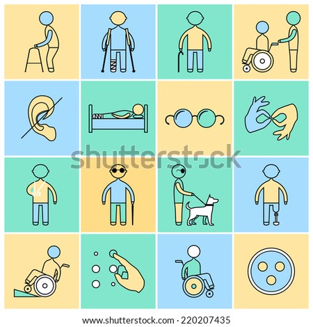 Disabled people flat line icons set isolated vector illustration - stock vector