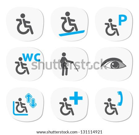 disabled people signs - stock vector