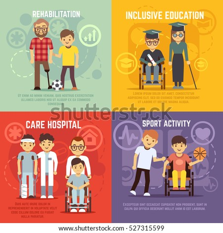 Disabled person care vector flat concepts set.