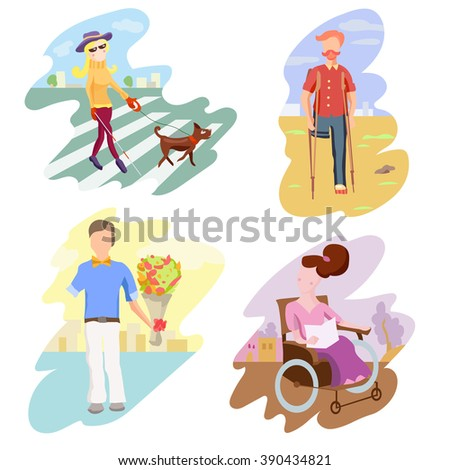 Disabled Person Compositions.Positive Bright Pictures. Vector Cartoon Illustration. - stock vector