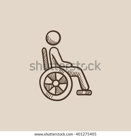 Disabled person sketch icon.