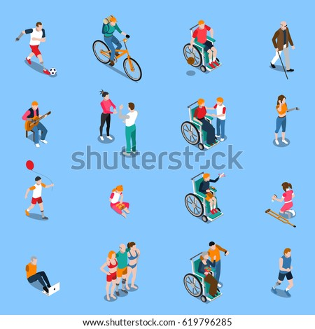 Disabled persons isometric set with adults and kids in different activities including sports music isolated vector illustration