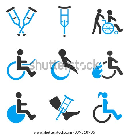 Disabled Persons vector icon set. Style is bicolor blue and gray flat symbols isolated on a white background. - stock vector