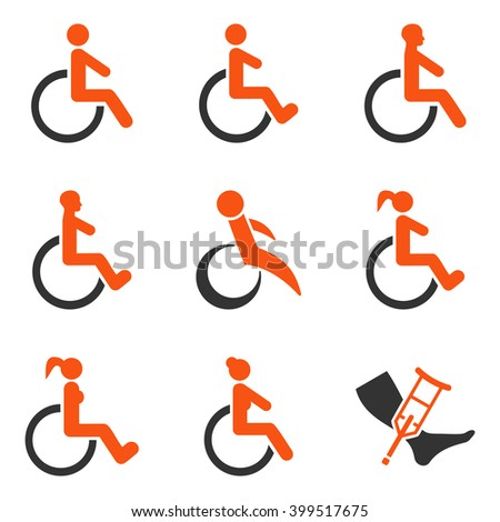 Disabled Persons vector icon set. Style is bicolor orange and gray flat symbols isolated on a white background. - stock vector