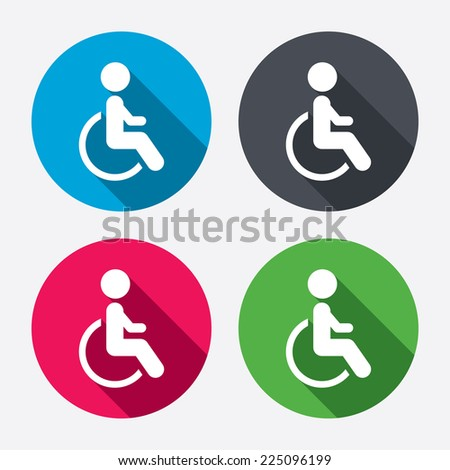 Disabled sign icon. Human on wheelchair symbol. Handicapped invalid sign. Circle buttons with long shadow. 4 icons set. Vector - stock vector