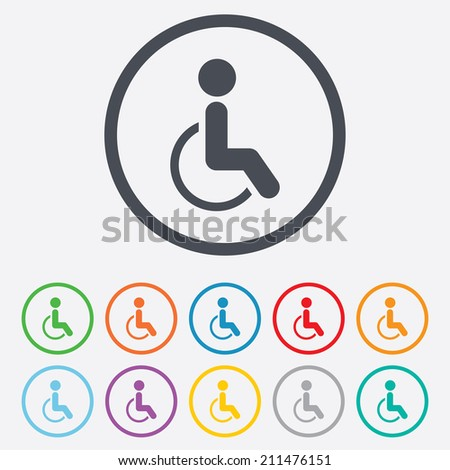 Disabled sign icon. Human on wheelchair symbol. Handicapped invalid sign. Round circle buttons with frame. Vector - stock vector