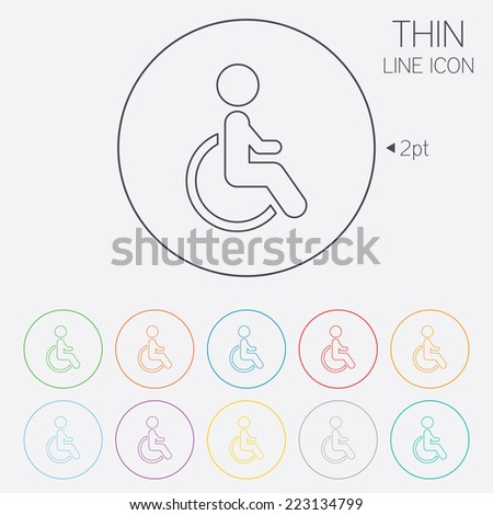 Disabled sign icon. Human on wheelchair symbol. Handicapped invalid sign. Thin line circle web icons with outline. Vector