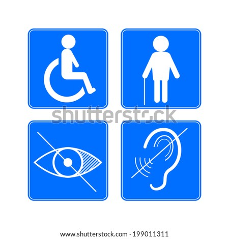 Disabled signs: deaf, blind, and wheelchair vector icons - stock vector