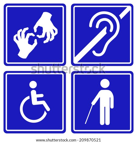 Disabled signs: deaf, blind, mute and wheelchair  icons. Vector. - stock vector