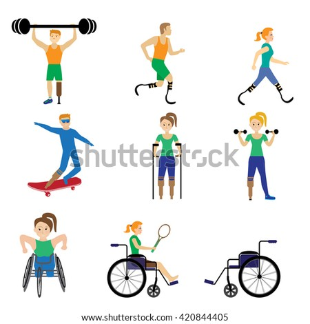 Disabled  Sport Games . Figure vector illustration Icons - stock vector