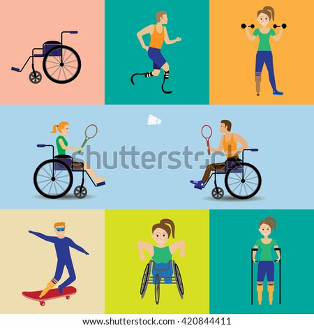 Disabled  Sport Games . Figure vector illustration Icons