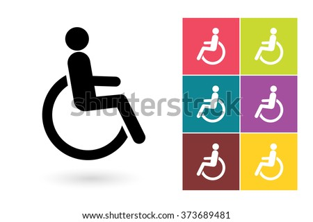Disabled vector icon or disabled handicap symbol. Disabled icon or disabled pictogram for logo with disabled handicap or label with disabled handicap - stock vector