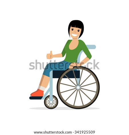 Disabled young woman in wheelchair smiling and showing thumb up. Flat vector character in isolated background. Concept for lifestyle and adaptation for people with disability. - stock vector
