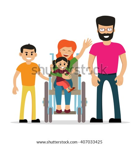 Disabled young woman in wheelchair with her son, daughter and husband. Cartoon vector characters. Isolated background. Concept for happy family,  lifestyle and opportunities for people with disability - stock vector