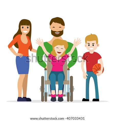 Disabled young woman in wheelchair with her son, daughter and husband. Flat vector characters in isolated background. Concept for happy family,  lifestyle and opportunities for people with disability. - stock vector