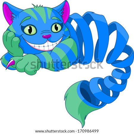 Disappearing Cheshire Cat levitating in the air - stock vector