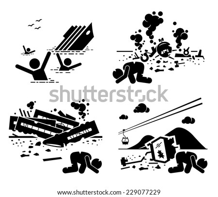 Disaster Accident Tragedy of Sinking Ship, Airplane Crash, Train Wreck, and Falling Cable Car Stick Figure Pictogram Icons - stock vector