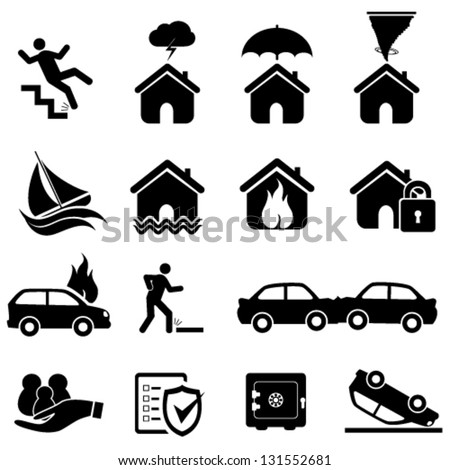 disaster icon set - stock vector