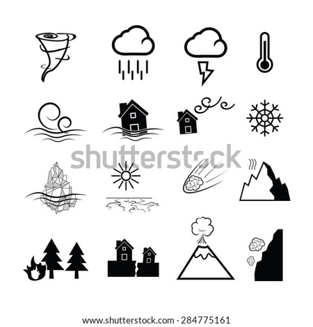 Disaster nature power icons set - stock vector