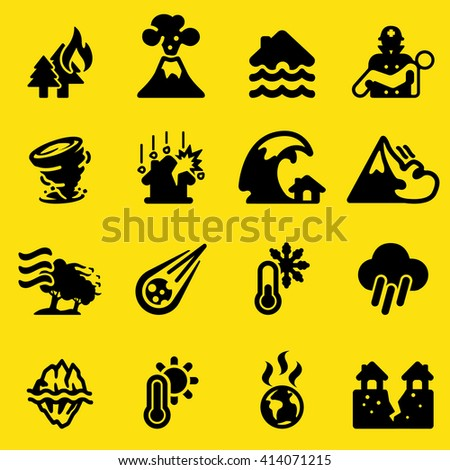 Disaster Yellow Silhouette icons - stock vector