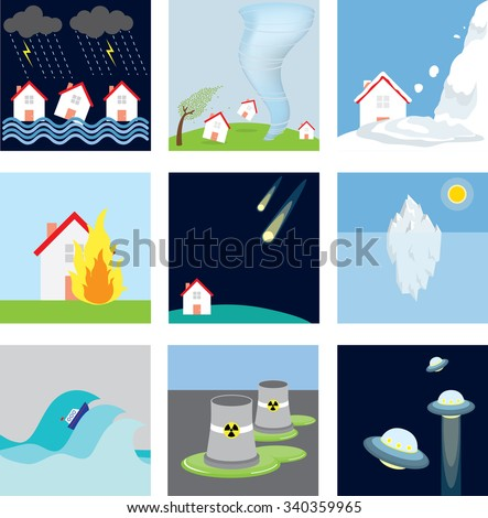Disasters: Storm, thunder, hurricane, tornado, avalanche, fire, meteorites, heatwave, tidal waves, nuclear, UFOs - stock vector