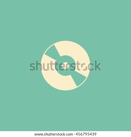 disc icon on vintage green background