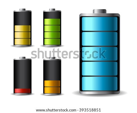 Discharged and fully charged battery smartphone - vector infographic. Isolated on white background - stock vector