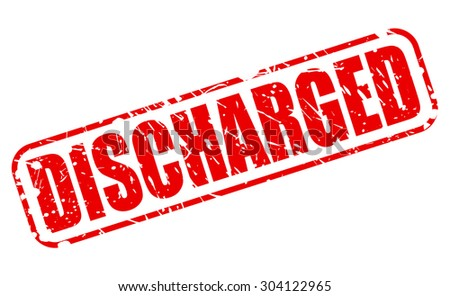 DISCHARGED red stamp text on white - stock vector