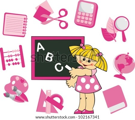 Disciple wrote on the blackboard the letters. Shown around the school subjects - stock vector