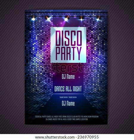 Disco background. Disco poster - stock vector