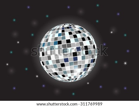 Disco background with disco ball. Vector illustration
