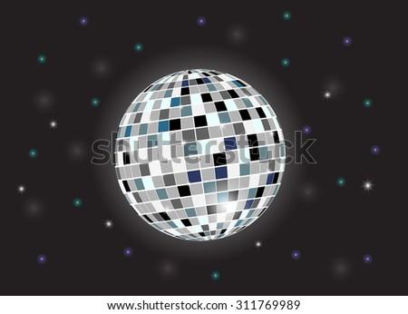 Disco background with disco ball. Vector illustration - stock vector