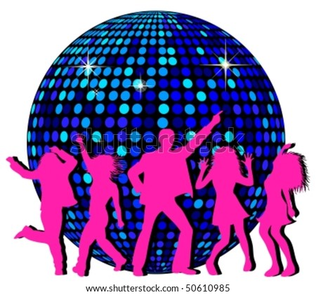 Disco Ball and dancing People - stock vector