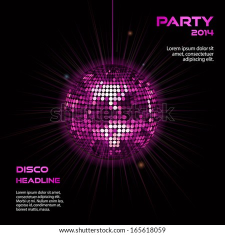 Disco ball background in glowing pink on black with sample text - stock vector