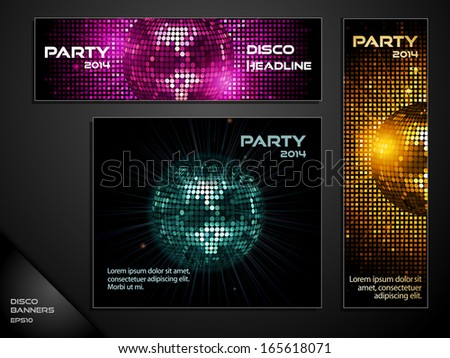 Disco Ball Banner Set with Skyscraper, MPU and Leaderboard layouts - stock vector