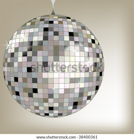 disco ball black, vector art illustration; more disco balls in my gallery