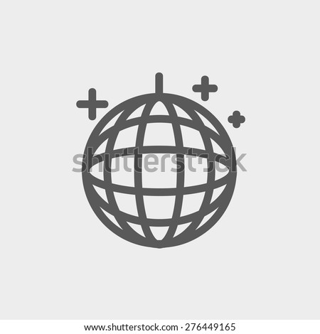 Disco ball icon thin line for web and mobile, modern minimalistic flat design. Vector dark grey icon on light grey background. - stock vector