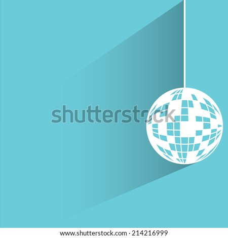 disco ball on blue background - stock vector