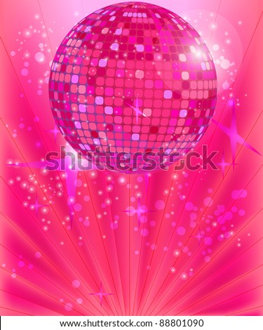 Disco ball on the pink background - stock vector