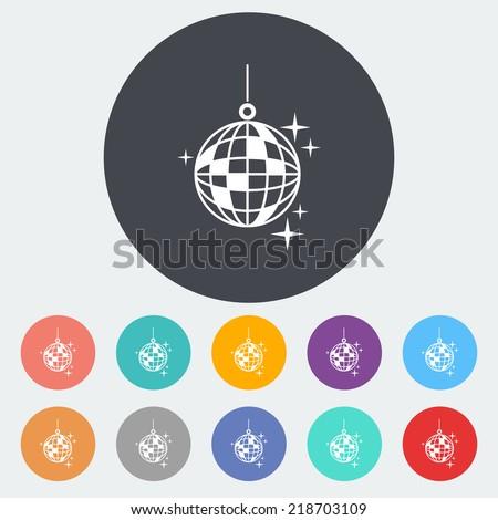 Disco ball. Single flat icon on the circle. Vector illustration. - stock vector