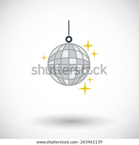 Disco ball. Single flat icon on white background. Vector illustration. - stock vector