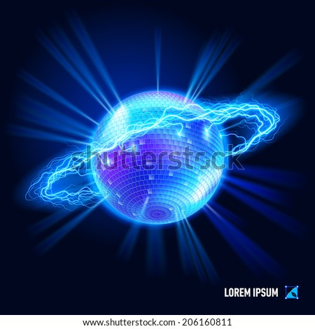 Disco ball surrounded by a stream of blue energy in the space - stock vector