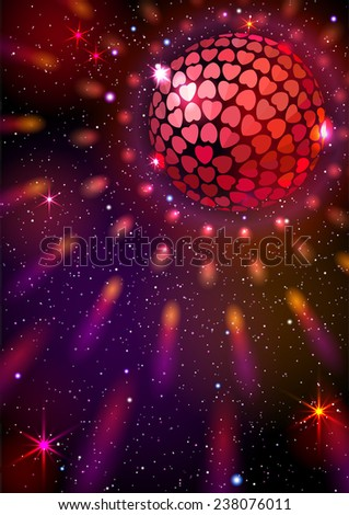 Disco Ball with Hearts. Vector background. EPS 10. Masks are used, so you can move the ball and lights.  Smartly grouped and layered. - stock vector