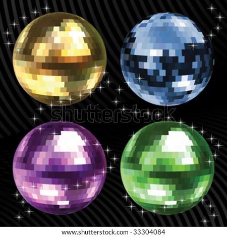 disco balls - stock vector